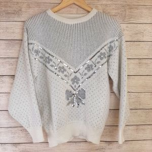 Vintage Embellished White Knit Sweater Bow sequins